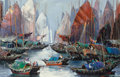 Fine Art - Painting, American:Contemporary   (1950 to present)  , Tinyan Chan (Canadian/Chinese, b. 1942). Entering theHarbour. Oil on canvas. 24 x 36 inches (61.0 x 91.4 cm). Signedlo...