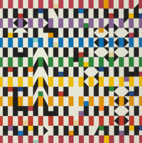Yaacov Agam (Israeli, b. 1928) Interplay Lithograph in colors 17-1/4 x 17-1/4 inches (43.8 x 43.8