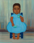 Fine Art - Painting, American:Contemporary   (1950 to present)  , Gustavo Montoya (Mexican, 1905-2003). Girl with Tea Cup. Oilon canvas. 22 x 18 inches (55.9 x 45.7 cm). Signed lower ri...