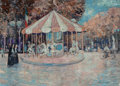 Fine Art - Painting, American:Modern  (1900 1949)  , John Harris (American, 20th Century). Carousel Scene. Oil oncanvas. 18-1/2 x 24 inches (47.0 x 61.0 cm). Signed lower r...
