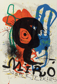 Joan Miró (Spanish, 1893-1983) Sobreteixims Exhibition, 1970 Lithograph in colors 33 x 22-3/4 inc