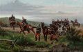 Fine Art - Painting, European:Antique  (Pre 1900), Paul-Leon Jazet (French, 1848-1918). French Cuirassiers Fording a Stream. Oil on panel. 17-1/2 x 24 inches (44.5 x 61.0 ...