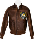 "Militaria:Uniforms, WWII Type A-2 Leather Flight Jacket With ""White Knights"" 70th Fighter Squadron Patch...."