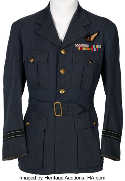 WWII R A F  Officers' Service Jacket Identified to Flight | Lot