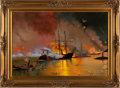 "Military & Patriotic:Civil War, Dramatic Oil Painting ""Battle of Mobile Bay""...."