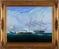 "Military & Patriotic:Civil War, Beautiful Original Oil Painting of the ""CSS Virginia vs USS Cumberland""...."