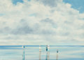 Fine Art - Painting, European:Contemporary   (1950 to present)  , André Gisson (French/American, 1921-2003). Clouds Above theBeach. Oil on canvas. 12 x 16 inches (30.5 x 40.6 cm). Signe...