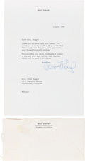 Movie/TV Memorabilia:Autographs and Signed Items, A Walt Disney Signed Letter, 1966....
