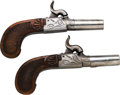 Handguns:Muzzle loading, Lot of Two Engraved Belgian Percussion Dueling Pistols.... (Total:2 Items)