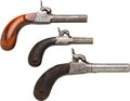 Handguns:Muzzle loading, Lot of Three Single Shot Percussion Muff Pistols.... (Total: 3Items)