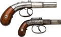 Handguns:Muzzle loading, Lot of Two Allen & Thurber Bar Hammer Double Action Pistols....(Total: 2 Items)