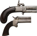 Handguns:Muzzle loading, Lot of Two English Over & Under Pistols.... (Total: 2 Items)