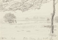 Fine Art - Work on Paper:Drawing, Oscar Florianus Bluemner (American, 1867-1938). North LittleFerry, June 18, 1908. Pencil on paper. 4 x 5-3/4 inches (10...