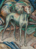 Fine Art - Painting, American:Contemporary   (1950 to present)  , Middleton Manigault (American, 1887-1922). Greyhound (TheWhippet). Oil on canvas. 12-1/2 x 9-1/4 inches (31.8 x 23.5cm...