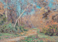 Fine Art - Painting, American:Modern  (1900 1949)  , Stephen Seymour Thomas (American, 1868-1956). SpringLandscape. Oil on panel. 10-1/2 x 13-1/2 inches (26.7 x 34.3cm). S...