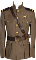 Militaria:Uniforms, WWI Naval Aviator Green Working Jacket and Sam Brown Belt Identified to Ensign Thomas Hall Wagner, Jr.... (Total: 2 )