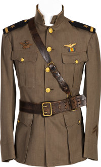 WWI Naval Aviator Green Working Jacket and Sam Brown Belt Identified to Ensign Thomas Hall Wagner, Jr