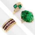Estate Jewelry:Rings, Ruby, Emerald, Jade, Platinum, Gold Rings. ... (Total: 3 Items)
