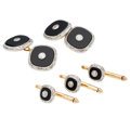 Estate Jewelry:Cufflinks, Diamond, Black Onyx, Platinum-Topped Gold Dress Set, Larter & Sons. ...