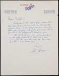 Baseball Collectibles:Others, Gil Hodges Signed Letter. ...