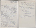Baseball Collectibles:Others, Chick Hafey Signed Letter and Envelope. ...