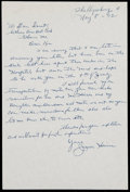 Baseball Collectibles:Others, Jesse Haines Signed Letter. ...