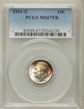 Roosevelt Dimes, 1951-S 10C MS67 Full Bands PCGS. PCGS Population: (69/8). NGC Census: (81/1). Mintage 31,630,000. ...