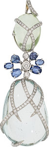 Estate Jewelry:Pendants and Lockets, Multi-Stone, Diamond, White Gold Pendant. ...