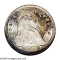 Seated Half Dimes: , 1853 H10C Arrows MS67 ★ NGC. Lavishly toned in sea-green, ruby-red,and lemon colors. A pinpo...