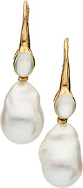 Estate Jewelry:Earrings, Freshwater Cultured Pearl, Moonstone, Gold Earrings, Assael. ...