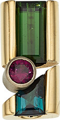 Estate Jewelry:Pendants and Lockets, Tourmaline, Garnet, Gold Pendant. ...