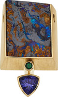 Estate Jewelry:Pendants and Lockets, Boulder Opal, Tanzanite, Garnet, Gold Pendant. ...