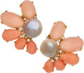 Estate Jewelry:Earrings, Coral, Cultured Pearl, Gold Earrings. ...