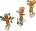 Estate Jewelry:Brooches - Pins, Turquoise, Cultured Pearl, Gold Brooches. ... (Total: 3 Items)