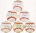 Autographs:Baseballs, Baseball Greats Single Signed Baseballs Lot of 6 - Aaron, Brett,Stargell, Ferrell, Rice, & Dandridge. ...