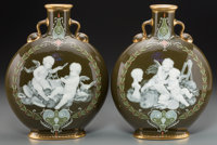 A Fine Pair of Mintons Partial Gilt Pate-sur-Pate Porcelain Moon Flask Vases, Stoke-on-Trent, Staffordshire, England
