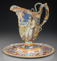 A Wedgwood Renaissance-Style Majolica Pitcher and Underplate, 19th century Marks: WEDGWOOD, (various)