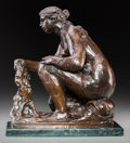 Sculpture, After Pierre-Auguste Renoir (French, 1841-1919). La Laveuse ou L'Eau. Bronze with brown patina, posthumous cast. 13 inch...