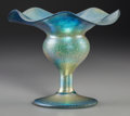 Art Glass:Tiffany , A Tiffany Studios Blue Favrile Glass Ruffled Vase, Corona, NewYork, circa 1900. Marks: L.C.Tiffany-Favrile, L208, (part...