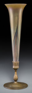 Art Glass:Tiffany , A Tiffany Studios Feather-Pulled Favrile Glass and Gilt BronzeVase, New York, circa 1910. Marks to glass: L.C.T.. Marks...