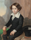 Fine Art - Painting, European:Antique  (Pre 1900), Circle of Ferdinand Georg Waldmüller (Austrian, 1793-1865). APortrait of a Boy seated in a landscape holding a book. Oi...