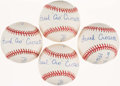 Baseball Collectibles:Balls, Frank Crosetti Single Signed Baseball Collection (4) - WithInscriptions. ...