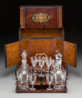 Decorative Arts, Continental:Other , A Napoleon III Brass Inlaid Mahogany, Fruitwood, and Burled CitronCave- a-Liqueur, late 19th century. 18-1/4 h x 25-1/4 w x...