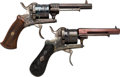 Handguns:Double Action Revolver, Lot of Two Belgian Engraved Pinfire Double Action Revolvers.... (Total: 2 Items)