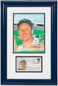 Autographs:Photos, Mickey Mantle First Day Cover and Original Artwork by Susan RiniDisplay. ...