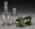 Art Glass:Other , Three Continental Glass Vessels: Pitchers and Animal Flask,late 18th-early 19th century. 10-1/4 inches high (26.0 c... (Total:3 Items)