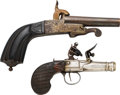 Handguns:Muzzle loading, Lot of Two European 19th Century Pistols.... (Total: 2 Items)