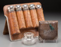 Decorative Arts, Continental, An Nine-Piece Alligator Leather and Silver-Mounted Vanity Group,late 19th-early 20th centuries. Marks: (various). 9-7/8 inc...(Total: 4 Items)