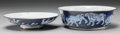 Asian:Chinese, Two Japanese Blue and White Porcelain Covered Bowls:Elephants. Marks: (four-character mark). 4-3/4 h x 8-3/4 dinch...