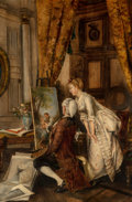 Paintings, L. Kiesel (French, 19th Century). The Artist's Studio. Oil on canvas. 31-1/4 x 21 inches (79.4 x 53.3 cm). Signed lower ...